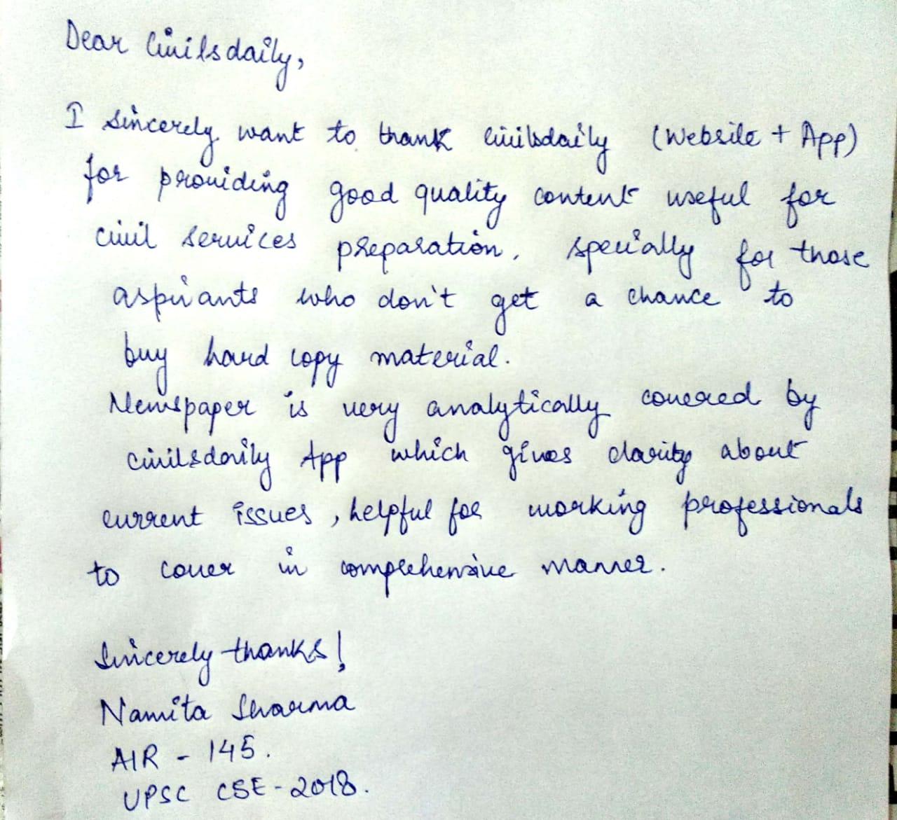 Topper Testimonial: Namita Sharma, AIR 145 | Working